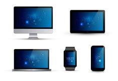 Reeks realistische elektronische gadgets Computermonitor, laptop, slim horloge, mobiele telefoon, tablet Royalty-vrije Stock Afbeeldingen