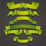 Reeks Realistische groene linten Element van decoratiegiften, groeten, vakantie, het ontwerp van de Valentijnskaartendag Vector vector illustratie