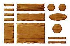 Reeks realistische houten interfaceknopen en elementen Stock Afbeeldingen