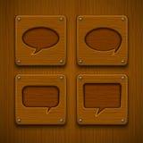 Reeks realistische houten toespraakbellen Royalty-vrije Stock Afbeelding
