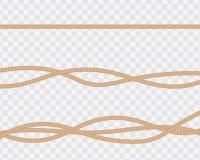 Reeks realistische kabels of koorden, rechtstreeks en verdraaid naughty stock illustratie