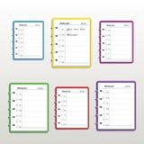 Reeks realistische kleurrijke wekelijkse die ontwerpers of organisatoren op witte achtergrond worden geïsoleerd stock illustratie