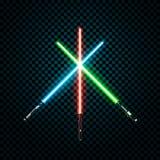 Reeks realistische lichte zwaarden Gekruiste sabels Vectorillustratie op transparante achtergrond vector illustratie