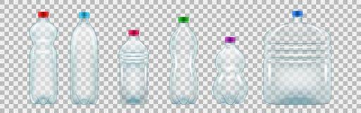 Reeks realistische plastic flessen van diverse vormen en grootte vector illustratie