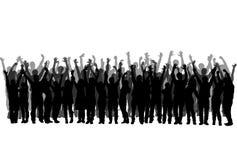 Reeks realistische silhouetten van mensen die met handen genieten van omhoog - vector stock illustratie
