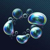 Reeks realistische transparante kleurrijke zeepbels in de misvorming Watergebieden met lucht, zeepachtige ballons, schuim vector illustratie