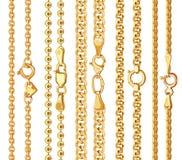 Reeks realistische vector gouden kettingen met greep vector illustratie