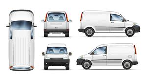 Reeks realistische vectorillustraties van minibestelwagen van verschillende mening royalty-vrije stock afbeeldingen