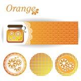 Reeks rechthoekige en ronde stickers voor oranje jam royalty-vrije stock afbeelding
