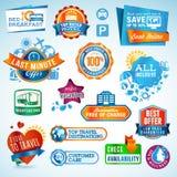 Reeks reisetiketten en stickers Royalty-vrije Stock Afbeeldingen