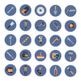 Reeks Reparatie en Bouw Werkende Handhulpmiddelen, de Pictogrammen van de Materiaalinzameling vector illustratie