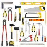 Reeks reparatie en woodwoork hulpmiddelen op een witte achtergrond Stock Afbeelding