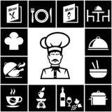 Reeks restaurantpictogrammen in wit op zwarte Stock Afbeelding