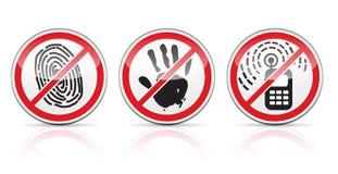 Reeks restrictieve tekenspictogrammen stock illustratie