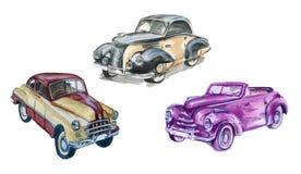 Reeks retro auto's Geïsoleerde De illustratie van de waterverf Royalty-vrije Stock Afbeelding