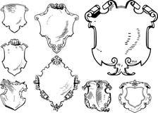 Reeks Retro Heraldische Schilden Royalty-vrije Stock Afbeelding