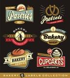 Reeks retro het ontwerpelementen van de bakkerijwinkel Royalty-vrije Stock Afbeelding