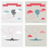Reeks retro kaarten met aerostaat en vliegtuig het vliegen stock illustratie