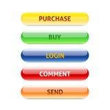 Reeks retro knopen aankoop koop login commentaar verzend Stock Afbeeldingen