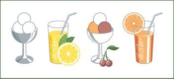 Reeks retro pictogrammen van limonade en fruit en roomijs Stock Afbeeldingen