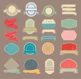 Reeks retro stickers en linten Royalty-vrije Stock Afbeeldingen