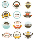Reeks retro uitstekende kentekens en etiketten Stock Fotografie