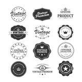 Reeks retro uitstekende kentekens en etiketten met textuur Stock Foto's
