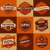 Reeks retro uitstekende kentekens en etiketten. Vlakke Stijl Royalty-vrije Stock Afbeelding