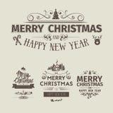 Reeks retro uitstekende Kerstmiskentekens Stock Foto's