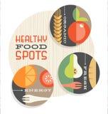 Reeks retro vlekillustraties van gezond voedsel royalty-vrije illustratie