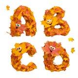 Reeks reusachtige geanimeerde brieven van het de herfstalfabet: A, B, C, D Stock Foto