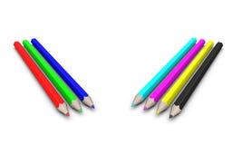 Reeks RGB en potloden CMYK. Stock Fotografie