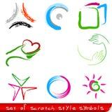 Reeks rode abstracte symbolen Stock Afbeelding