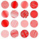 Reeks rode cirkelballen op witte achtergrond De reeks van de Christmassbal Royalty-vrije Stock Foto