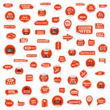 Reeks rode document stickers van korting en verkoop, vectorillustratie stock illustratie