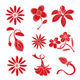 Reeks rode elementen van het bloemontwerp Royalty-vrije Stock Foto