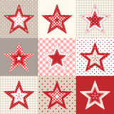 Reeks rode en blauwe lapwerk decoratieve sterren, Kerstmis beweging veroorzakende illustratie Royalty-vrije Stock Foto