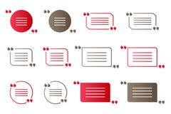 Reeks rode en bruine gradiëntaanhalingstekens, geïsoleerde citaat vectorsymbolen op wit Royalty-vrije Stock Foto's