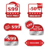 Reeks rode etiketten voor verkoop Royalty-vrije Stock Fotografie