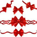 Reeks rode giftbogen Stock Afbeelding