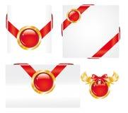 Reeks Rode Gouden Stickers van het Etiket vector illustratie