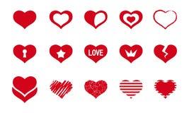Reeks rode harten Royalty-vrije Stock Afbeelding
