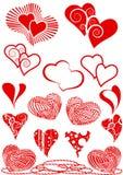 Reeks rode harten als ontwerpelementen Royalty-vrije Stock Fotografie