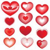 Reeks rode harten voor de Dag van Valentine Stock Foto's