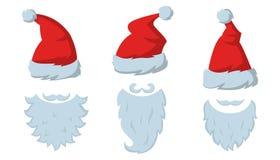 Reeks Rode hoeden en baarden van Santa Claus op witte backgroun stock illustratie