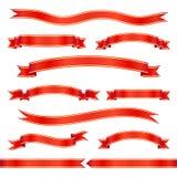Reeks rode lintbanners Vector illustratie Royalty-vrije Stock Afbeeldingen