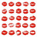 Reeks rode lippendrukken, kussen vector illustratie