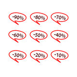 Reeks rode markeringen van de speciale aanbiedingverkoop Stock Foto