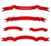 Reeks rode mooie lintbanners Vector illustratie Stock Foto