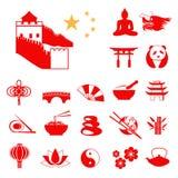 Reeks Rode pictogrammen van China Infographic royalty-vrije illustratie